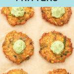 Pinterest graphic with text and a photo of vegetable fritters