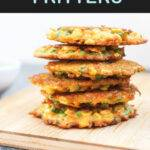 Pinterest graphic with text and a photo of a stack of vegetable fritters
