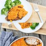 Pinterest graphic with two photos of sweet potato cottage pie