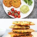 Pinterest graphic with two photos of vegetable fritters
