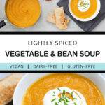 Pinterest graphic with text and two photos of vegetable and bean soup