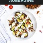 Pinterest graphic with text and a photo of Mexican stuffed aubergines
