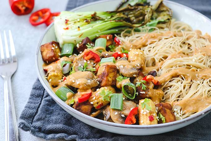 A bowl of noodles with vegetables, tofu and drizzles of peanut sauce on top
