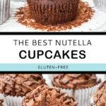 Pinterest pin graphic with text and two photos of nutella filled cupcakes