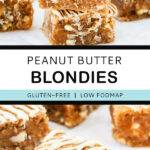 Pinterest graphic with text and two photos of peanut butter blondies