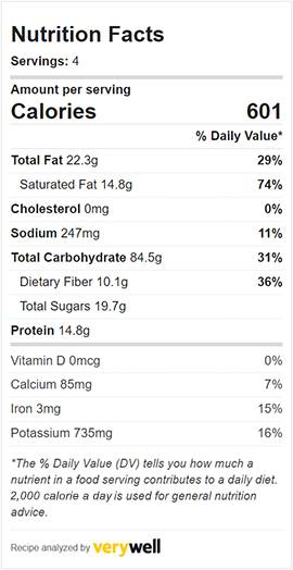 Nutritional information graphic for cauliflower and chickpea curry