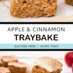 Pinterest graphic with text and two photos of apple and cinnamon cake.