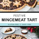 Pinterest graphic with text and two photos of a mincemeat tart