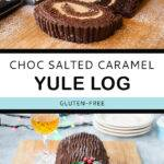 Pinterest pin graphic with text and two photos of a chocolate yule log