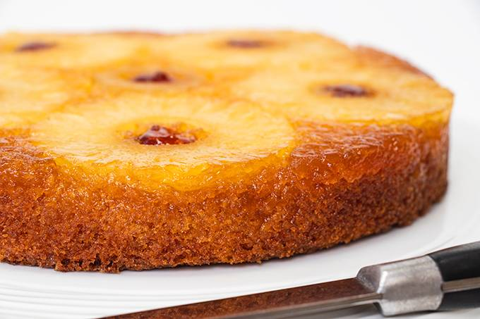 Close up of a gluten free pineapple upside down cake.