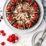 Pinterest pin graphic with text and a photo of an Oreo tart